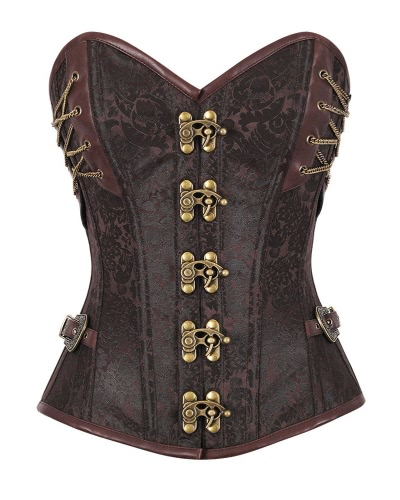Vintage Women Corset Steampunk Overbust Waist Trainer Cincher Steel Boned Body Shaper Girdle Bustiers Shapewear