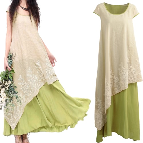 Women Vintage Casual Loose Maxi Dress Floral Embroidery O Neck