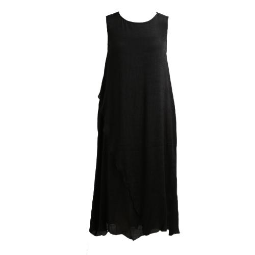 Mujeres vestido de verano sin mangas O cuello largo Maxi vestidos de lino suelta vestido más tamaño