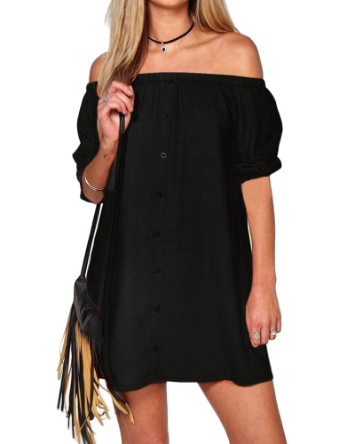 Sexy Women Mini Dress Solid Off Shoulder Backless Short Sleeves Casual Loose Party Dress Black/Pink/Army Green