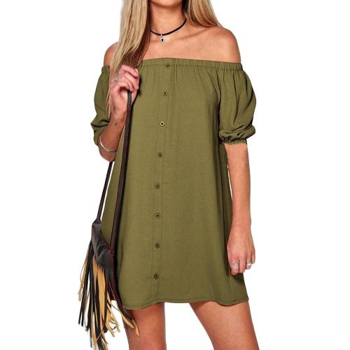 Mini vestido de las mujeres atractivas sólido fuera del hombro mangas cortas sin respaldo vestido de fiesta flojo ocasional negro / rosa / verde del ejército