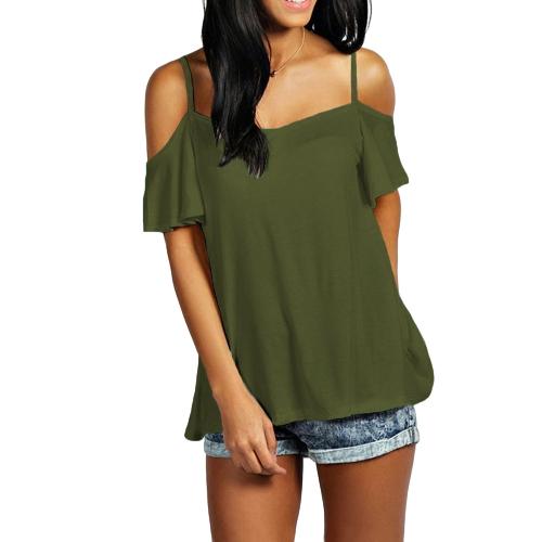 Frauen-Sommer-grundlegendes T-Shirt weg vom Schulter-Kurzschluss-Hülsen-Normallack-beiläufiges loses Spitzenhemd