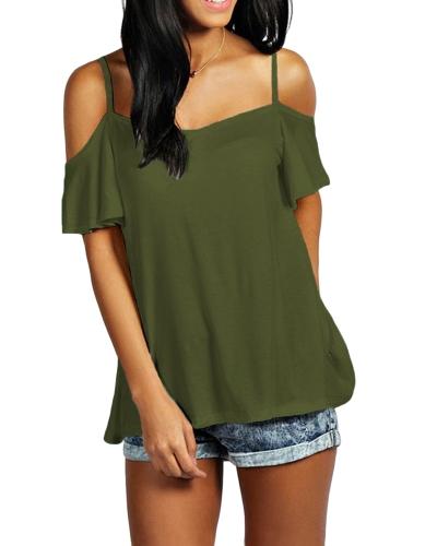 Women Summer Basic T-shirt Off Shoulder Short Sleeve Solid Color Casual Loose Top Shirt