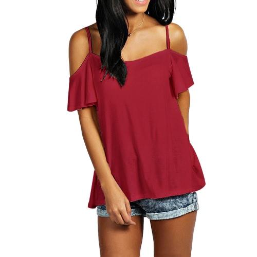 Mujeres Verano Camiseta básica de la manga corta de hombro de color sólido Casual camiseta suelta