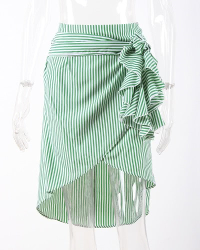 Moda Mulher Saia listrada Asymmetrical Hem Split Ruffles Bandage Hight Waist Irregular Skirt Azul / Verde / Rosa