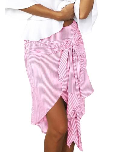 Moda Mujer Rayas Falda Asimétrico Hem Split Ruffles Bandage Hight Cintura Irregular Falda Azul / Verde / Rosa