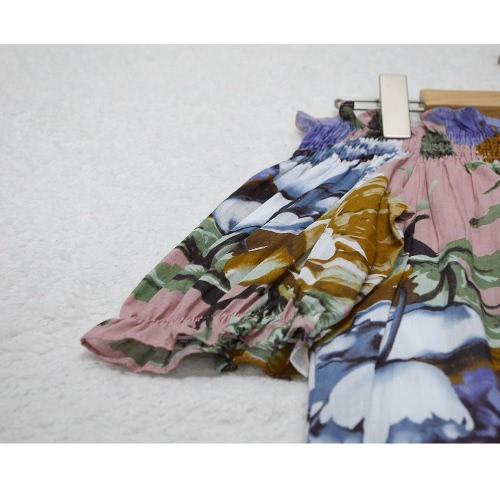 Платье женской туники гофрированная off-плечи цветочный принт Слэш шеи лето свободного покроя цветочный сарафан розовый