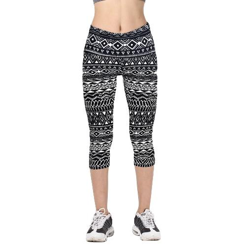 Moda de alta cintura Impreso Cropped Yoga Fitness Mujer Leggings