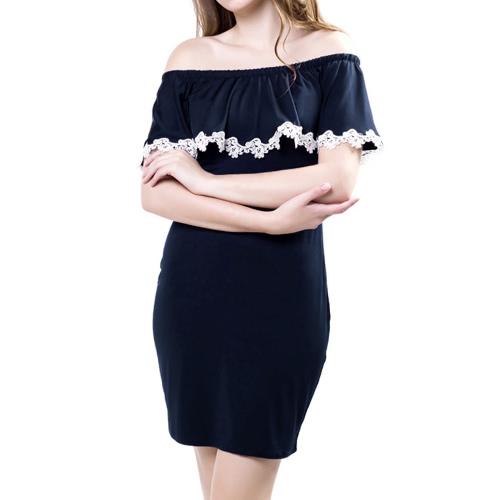 Sukienka Sexy Kobiety Mini Sukienka Koronki Od naramiennej Wieczór Strona Slash Neck Bodycon Sukienka Ołówek Ciemny Niebieski