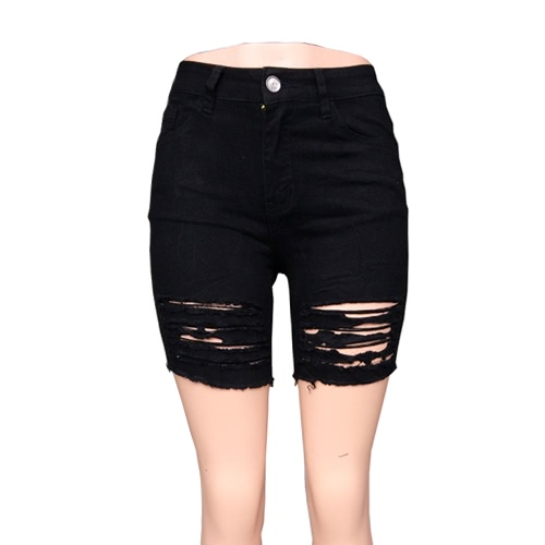 Damskie spodenki Ripped Denim Casual High Waist Dżinsy Kieszonki Kieszonki Summer Skinny Shorts White / Black