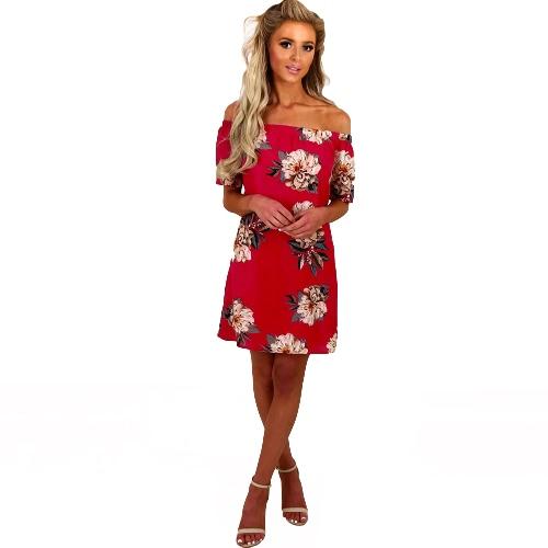 Kobiety Szyfonowa Sukienka Off ramię Floral Print Slash Neck Krótki rękaw Mini Casual Beach Holiday Jednoczęściowy czerwony