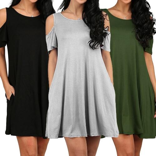 Nuevas mujeres Casual Blusa Tops Señoras túnica sexy fuera del hombro bolsillos de manga corta suelta Camiseta Swing Negro / Gris / Verde