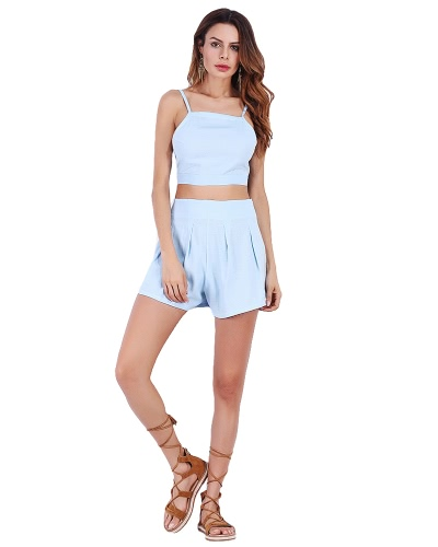 Sexy Women Two Piece Set Spaghetti Strap Backless Bandage Crop Top Pleated Shorts Suits Outfits White/Light Blue