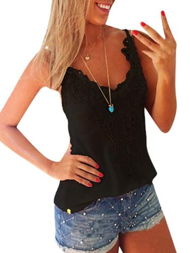 Neue Frauen-elastische Trägershirts O-Ansatz Spitze-Häkelarbeit-Weste-dünnes Bodycon reizvolles Sommer-Camis weißes / Schwarzes