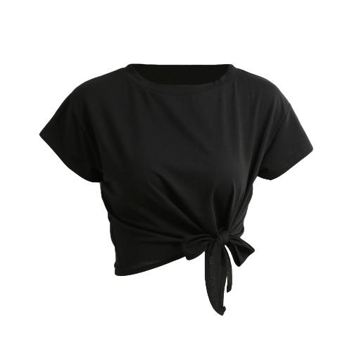 Nowa letnia damska koszulka trykotowa z krótkim rękawem z przodu z krótkimi rękawkami, luźna koszulka z krótkimi rękawami