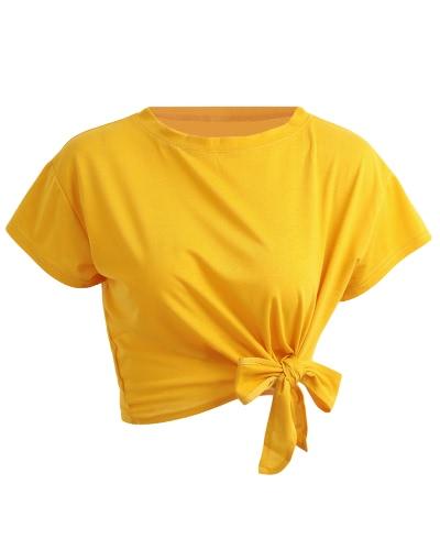 Nueva camiseta de manga larga de la camiseta de las mujeres del verano de la manga del O-Cuello del arco de la manga corta floja de la camiseta