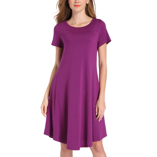 Frauen Jersey Kleid Solid Stretchy Rundhals Kurzarmtaschen Midi Casual Party Club Einteiler