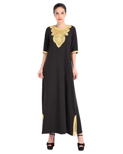Mode Frauen Muslim Kleid Halbes Ärmel Sequined Split Abaya Kaftan Islamic Arab Robe Maxi Kleid Schwarz / Orange / Blau