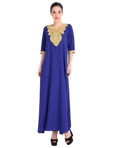 Moda Mujeres Musulmanes vestido de media manga Sequined Split Abaya Kaftan árabe islámica Robe maxi vestido negro / naranja / azul