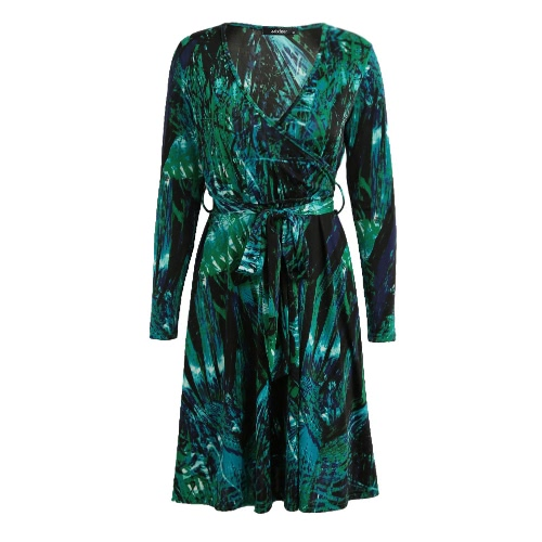 Fashion Women Mini Dress Sexy V Neck Leaf Print Long Sleeve Leaves Slim Belted Boho Dress Green/Rose