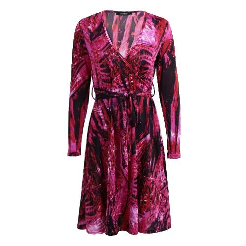 Moda mini vestido de mujer sexy V cuello hoja de impresión de manga larga hojas