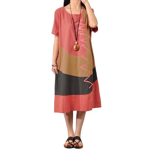 Women Cotton Vintage Dress Contrast O Neck Short Sleeves