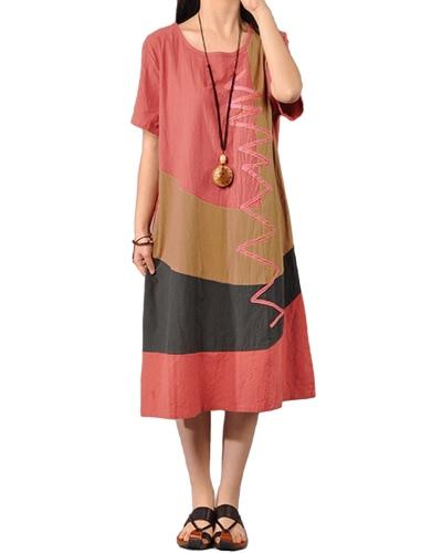 Mujeres Algodón Vestido Vintage Contraste O cuello manga corta