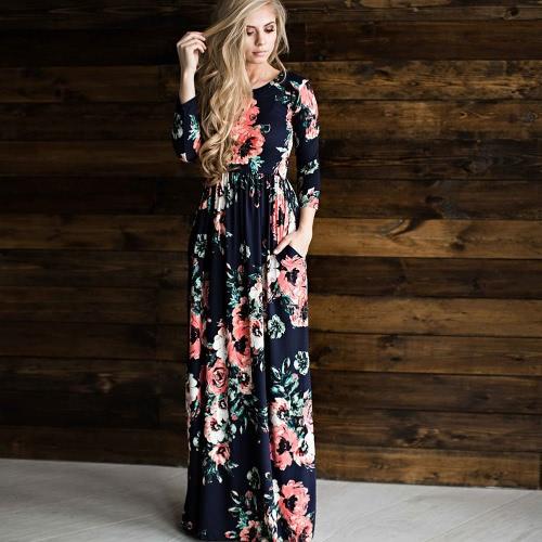 Vestido largo con cuello largo con mangas 3/4, mangas largas, vestidos largos
