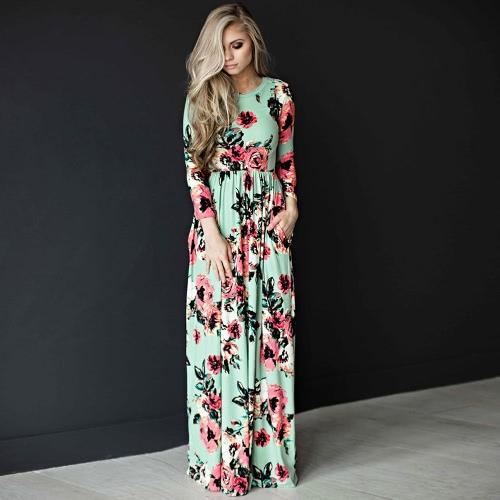 Mulheres Floral Print Maxi Dress O Neck 3/4 Sleeves Bolsos Elastic Waist Long Dress Vestidos