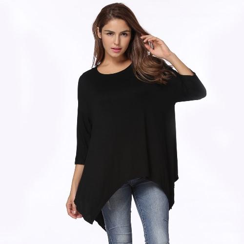 Neue Art- und Weisefrauen-T-Shirt runder Ansatz 3/4 Hülsen Unregelmäßiger Saum lose T-Shirt Spitzenweiß / Schwarzes