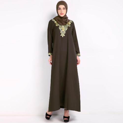 Moda musulmán bordado árabe islámica Robe Mujer Maxi vestido
