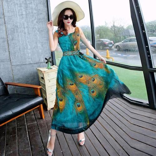 Mujeres Maxi sin mangas de gasa Vestido pluma Imprimir Sash más tamaño Casual suelto Swing Tunic tanque vestido de playa