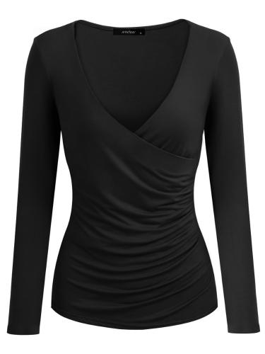 Mulheres sexy sexy com pescoço profundo com pescoço cruzado com franjas camiseta com manga curta manga comprida Wraparound Slim Top Black / Bugundy