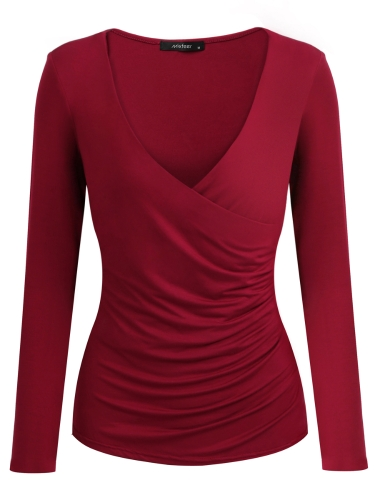 Nuevas mujeres atractivas cuello en V profunda frente con pliegues camiseta de manga larga pullover envuelto delgado Top negro / Bugundy