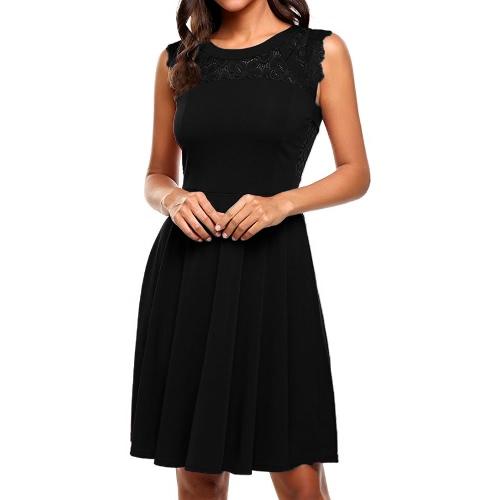 Moda mujeres sin mangas de encaje vestido de empalme de cuello redondo A-alineados Cocktail Party Negro / Borgoña
