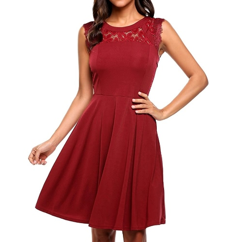 Fashion Women Sleeveless Dress Lace Splicing Round Neck A-Lined Cocktail Parties Dress Black/Burgundy