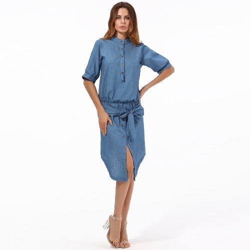 Mulheres Denim Vestido Sólido Irregular Alto Low Hem Tie Bow Stand Collar Meia manga Casual One-Piece Blue