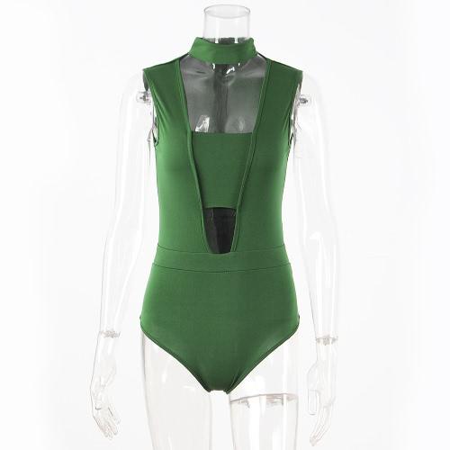 Nuevo traje de noche de Bodycon de las medias sin mangas del BodyShirt de las nuevas mujeres recortó el Beachwear