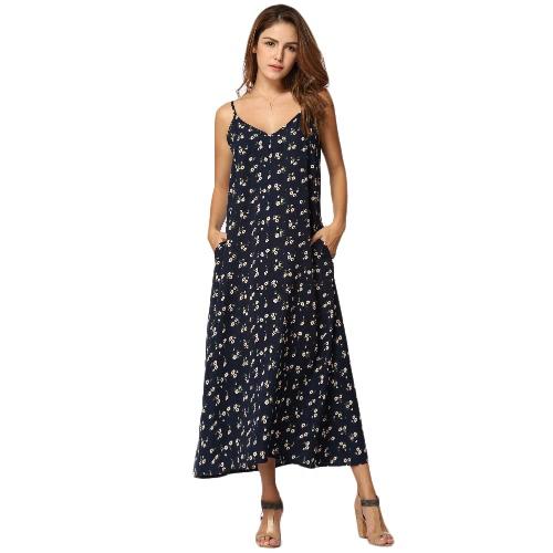 Sexy Mujeres Maxi vestido de tirantes largos florales de impresión V-cuello sin mangas de la vendimia Casual vestido suelto negro / azul oscuro