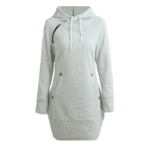 Nueva Moda Mujer suéter largo con capucha de manga larga sólida bolsillos Zipper Top casual caliente Hoodies