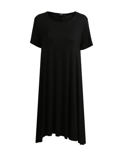 Moda Mulheres Solid A-Line Dress Neck Neck Neck Sleeves