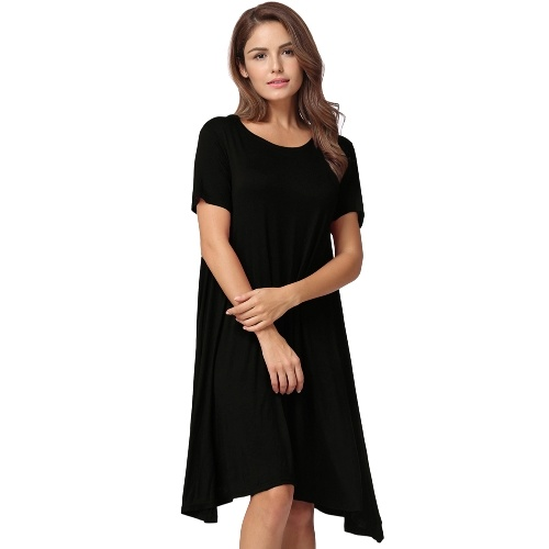 Fashion Women Solid A-Line Dress Round Neck Short Sleeves Casual Party Midi Dress Black/White/Burgundy