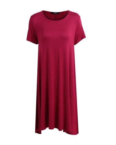 Moda mujer sólida A-Line vestido cuello redondo mangas cortas