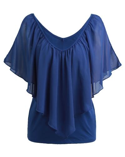 Le donne sexy delle camicette delle donne veste la maglietta felpata senza maniche delle magliette della maglietta della maglietta felpata della maglia della maglietta felpata