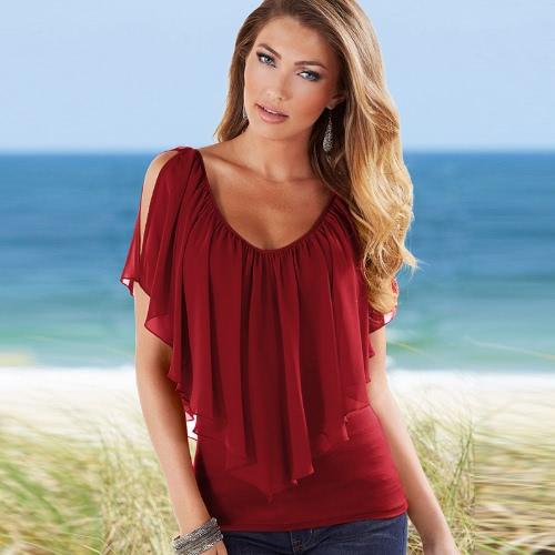 Mujeres Atractivas Blusa V cuello frío hombro volantes sin mangas sólida camiseta chaleco Tank verano Casual Tops