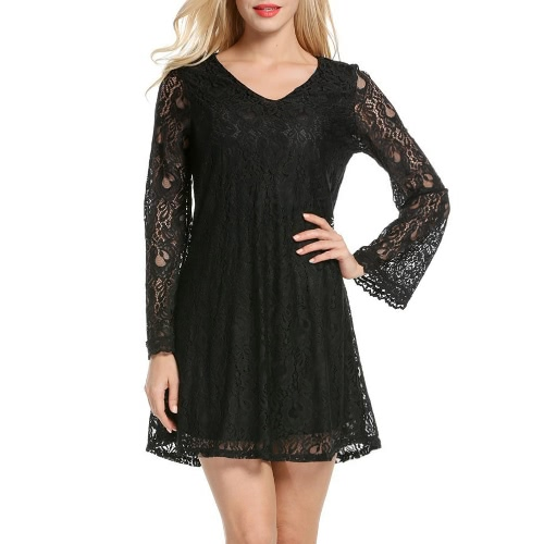 Sexy Women Mini Dress Lace Hollow Out V-Neck mangas compridas Elegant Loose Party Dress Black / Green