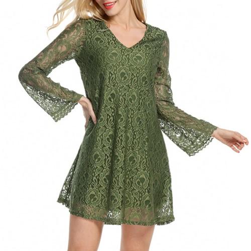 Sexy mujeres mini vestido de encaje ahuecar el cuello en V manga larga elegante vestido de fiesta suelto negro / verde