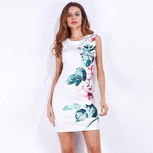 Sexy Frauen Elegantes Minikleid Blumendruck O-Ausschnitt Rückseiten-Split-Abend-Party Bodycon Bleistift-Kleid Weiß