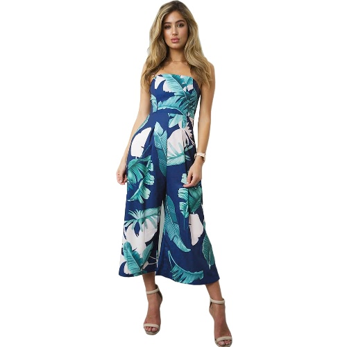 Mulheres Jumpsuit Strapless Palm Leaf Geometric Print Summer Overalls Calças sem mangas Playsuit Rompers
