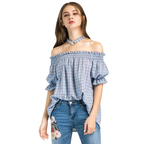 New Women Blouse Plaid Off Ombro Lantern Meias mangas Backless Elegante Loose Top Blue